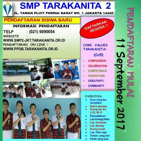 PPDB SMP Tarakanita 2 Tahun Ajaran 2018-2019