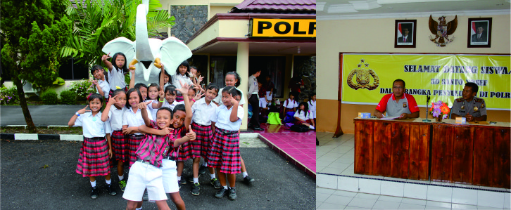 Penyuluhan anak-anak SD Santo Yosef di Polres Lahat